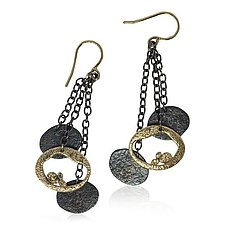 Dangling Pebbles Chain Earrings by Rona Fisher (Gold & Silver Earrings)