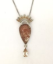 Fandango Pendant with Lodolite Quartz and Mexican Topaz by Marie Scarpa (Silver & Stone Necklace)