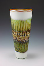 White Opal Cone by Danielle Blade and Stephen Gartner (Art Glass Vase)