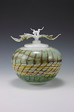 White Opal Covered Sphere with Avian Finial by Danielle Blade and Stephen Gartner (Art Glass Vessel)