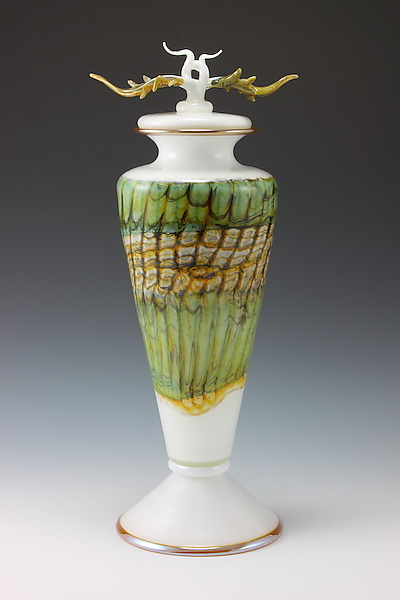 White Opal Covered Vessel with Avian Finial