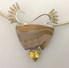 Scroll Pendant with Quartz Drusy and Trillion Citrine by Marie Scarpa (Gold, Silver, & Stone Necklace)