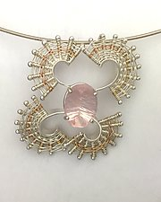 Fandango Silver Pendant with Rose Quartz by Marie Scarpa (Gold, Silver, & Stone Necklace)