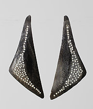 Patterned Asymmetrical Triangle by John Siever (Silver Earrings)