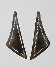 Outlined Patterned Asymmetrical Triangle by John Siever (Silver Earrings)