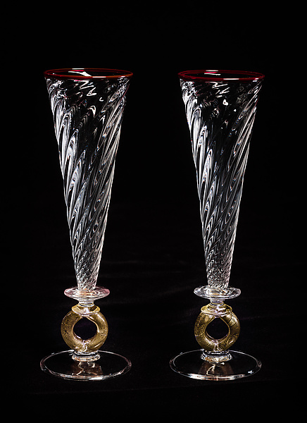 Gold Wedding Ring Champagne Flutes