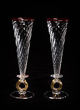 Gold Wedding Ring Champagne Flutes by Robert Dane (Art Glass Stemware)