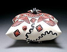 Black, Red, & White Square Sitting Pillow by Darlene Davis (Ceramic Box)