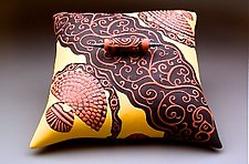 Scroll Pillow Box by Darlene Davis (Ceramic Sculpture)