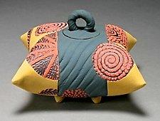 Red, Yellow, and Gray Sitting Pillow by Darlene Davis (Ceramic Box)