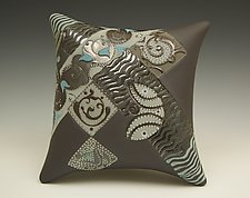 Chocolate Wall Pillow with Wavy Diagonal by Darlene Davis (Ceramic Wall Sculpture)
