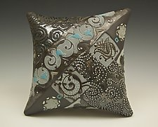 Chocolate Wall Pillow with Swirls and Dots by Darlene Davis (Ceramic Wall Sculpture)