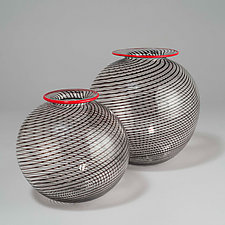 Black Orbs by David J. Benyosef (Art Glass Vessel)
