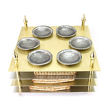 Four Tiered Seder Plate by Joy Stember (Metal Seder Plate)
