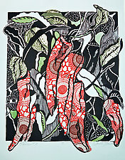 Chiles #11 by Ouida  Touchon (Woodcut Print)