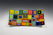 Rectangular Carnival Bowl by Helen Rudy (Art Glass Bowl)