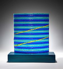 Blue Horizon by Helen Rudy (Art Glass Sculpture)
