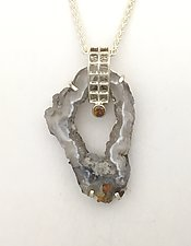 Mesh Silver Pendant with Silver and Citrine by Marie Scarpa (Silver & Stone Necklace)