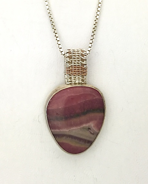 Sigma Silver Rhodochrosite Pendant with Rose Gold