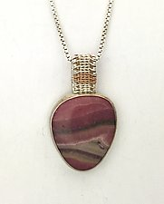 Sigma Silver Rhodochrosite Pendant with Rose Gold by Marie Scarpa (Gold, Silver, & Stone Necklace)