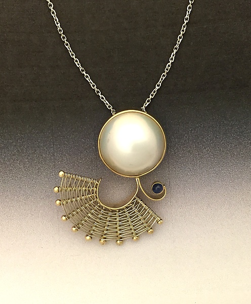 Fandango Gold Pendant with Mabe Pearl and Sapphire