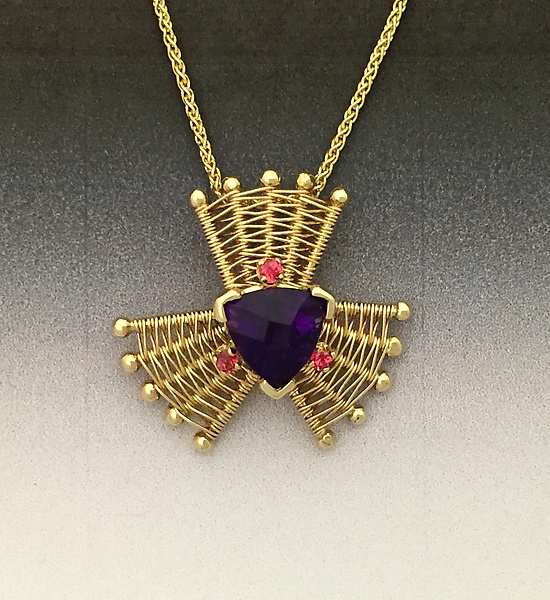 Iris Gold Pendant with Amethyst and Red Spinel