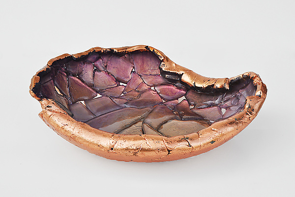 Asymmetrical Lilac and Rose Copper Vessel