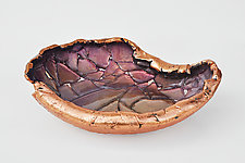 Asymmetrical Lilac and Rose Copper Vessel by Mira Woodworth (Art Glass Bowl)