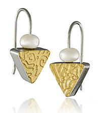 Golden Triangle Earrings by Idelle Hammond-Sass (Gold, Silver & Pearl Earrings)