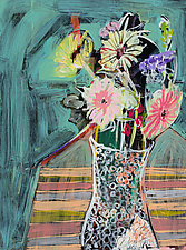 Contemporary Floral by Leonard Moskowitz (Acrylic Painting)