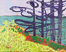 Monhegan Pines by Leonard Moskowitz (Acrylic Painting)