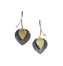 Oxidized Double Petal Earrings by Jenny Reeves (Gold & Silver Earrings)
