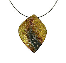 Ombre Flame Pendant with Diamonds by Jenny Reeves (Gold, Silver & Stone Necklace)