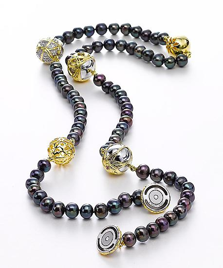 Black Pearl Paja Necklace by Ellen Himic (Gold, Silver, Stone & Pearl Necklace)
