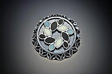 3-D Leaf Resin Brooch/Pendant with Topaz by Sadie Wang (Silver, Stone & Resin Brooch)