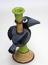 Blackbird Candle Stick 2 by Amy Goldstein-Rice (Ceramic Candleholder)