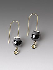 Hematite Drop Earrings by Ann Cahoon (Gold, Silver & Stone Earrings)