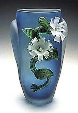 Etched Flower Vase by David Van Noppen (Art Glass Vase)
