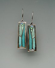 Leaf Earrings No. 195 by Carly Wright (Silver & Enamel Earrings)