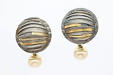 Dome Earring with Pearl by Marne Ryan (Gold, Silver & Pearl Earrings)