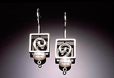 Open Spiral Earrings with Pearl by Donna D'Aquino (Silver & Pearl Earrings)