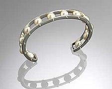 Silver Tambourine Cuff by Patricia Madeja (Silver & Pearl Cuff Bracelet)