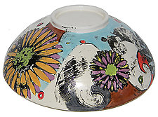 Sweet Eve Large Bowl with Orange Flower by Regina Farrell (Ceramic Bowl)