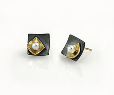 Mini Square Studs with Pearl by Keiko Mita (Gold, Silver & Pearl Earrings)