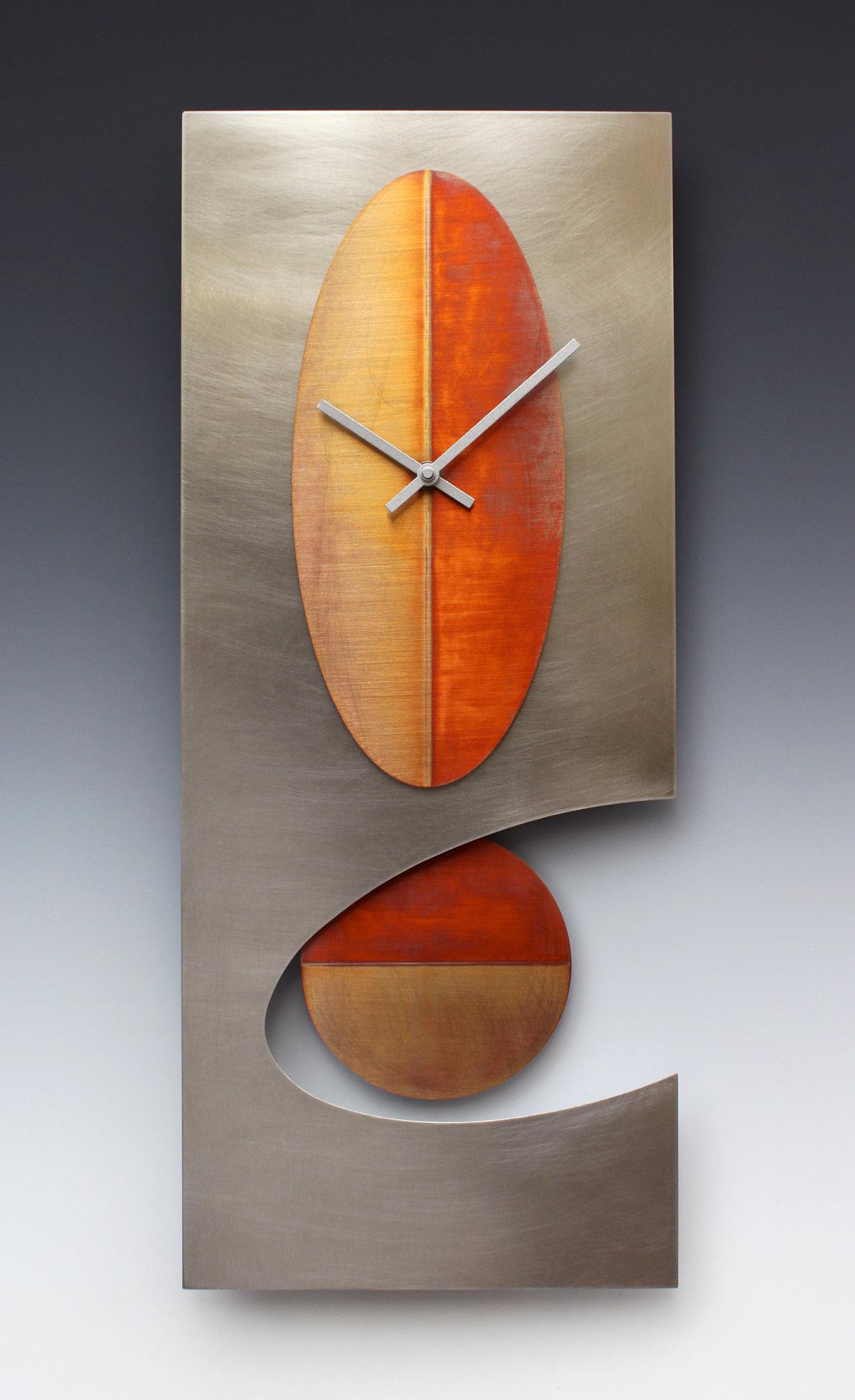 Steel 24 Oval Pendulum Clock By Leonie Lacouette Metal