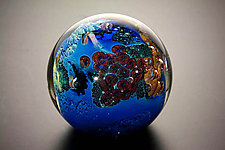 Inhabited Megaplanet, 3 inch by Josh Simpson (Art Glass Paperweight)