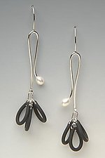 Pearl Pom by Lonna Keller (Silver, Pearl & Neoprene Earrings)