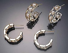 Tambourine Hoop Earrings by Patricia Madeja (Pearl & Silver Earrings)