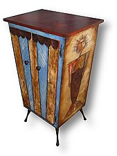 Merman Lady Liquor Cabinet by Wendy Grossman (Wood Cabinet)