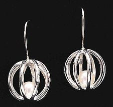 Sphere Cage Earrings by Patricia Madeja (Silver & Pearl Earrings)